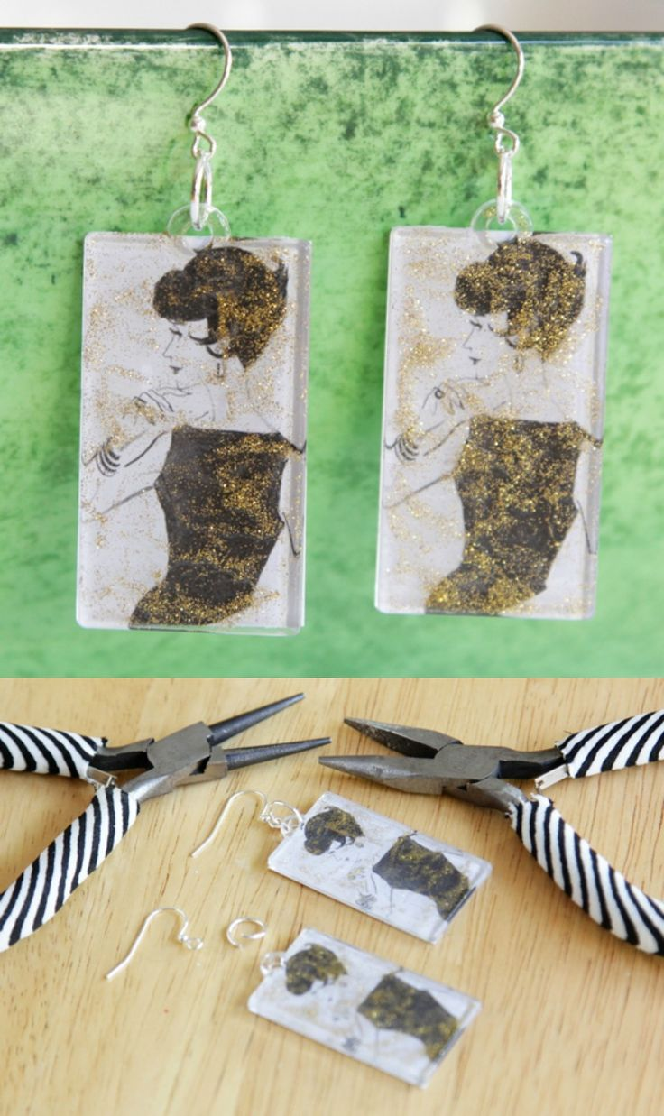Use vintage graphics of sophisticated ladies and acrylic shapes to make these fun earrings!