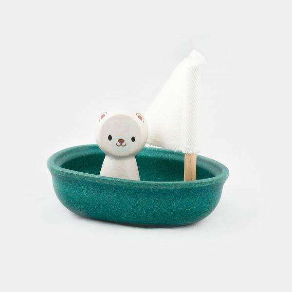 Jouet de bain bateau avec voile, en pâte de bois écologique Flotte à la surface de l'eau Personnage ours polaire amovible