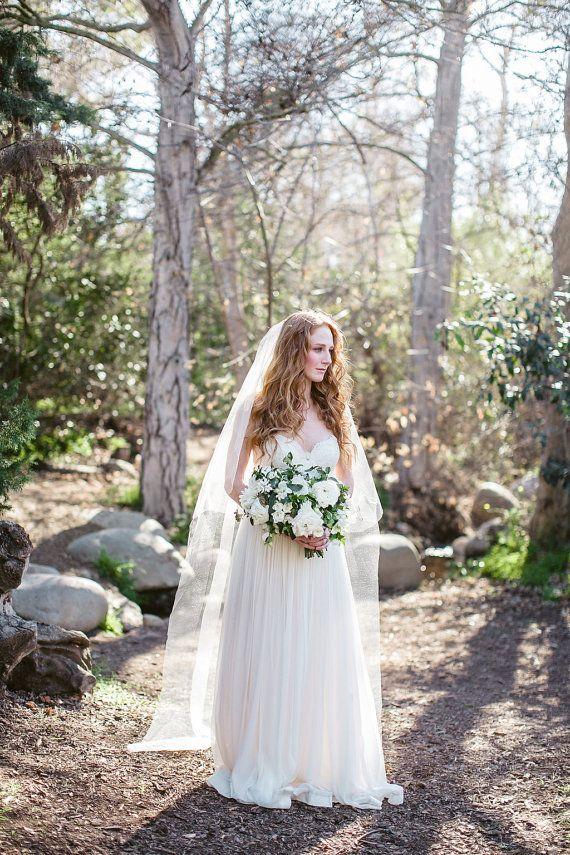 Chapel Length Bridal Veil Drop Veil Long Veil by MyOliviaNelson