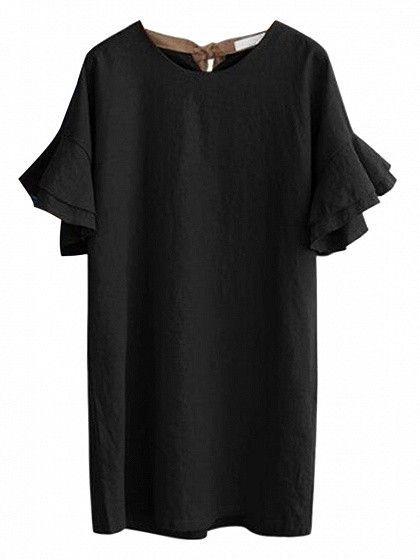 Black Ruffle Sleeves Tie Back Shift Dress