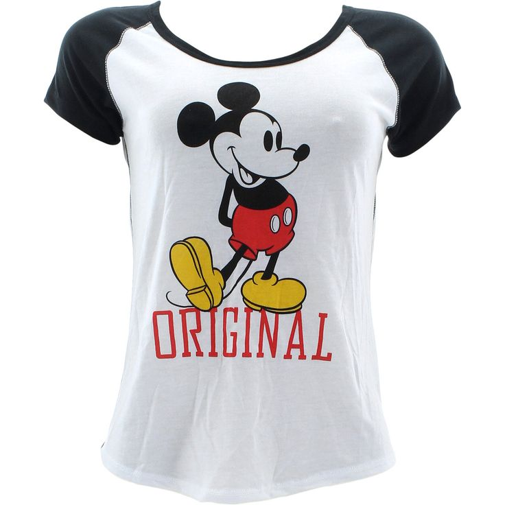 - Cotton blend in white with black - Scooped neckline, pull over - Short raglan sleeves in a contrasting design - Mickey graphic on front - Curved hem on back