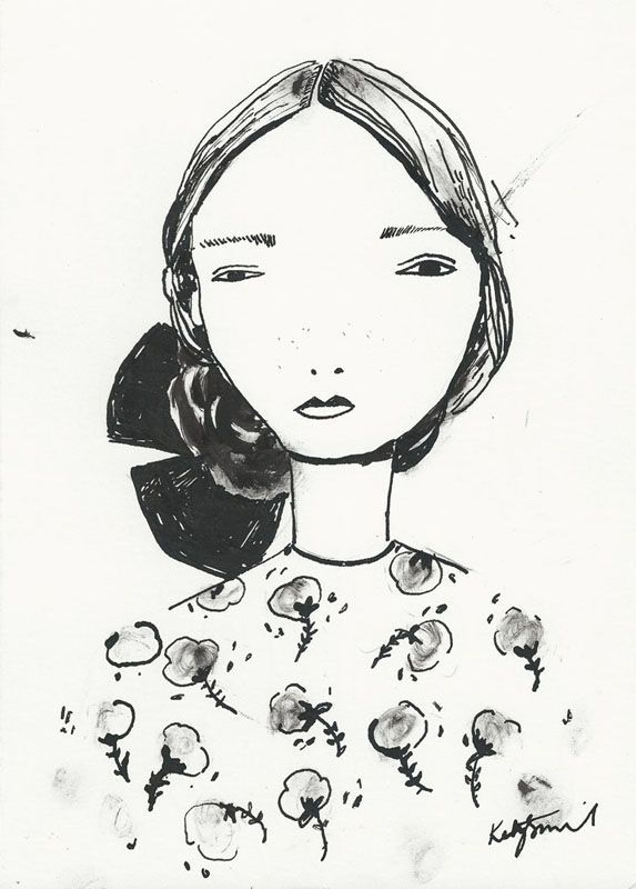 Katy Smail, illustration, drawing, ink, portrait: