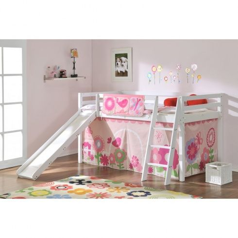 floral cabin bed with slide and tent featuring pretty. Black Bedroom Furniture Sets. Home Design Ideas