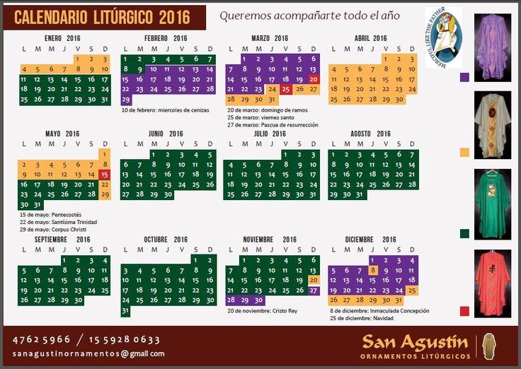 Calendario Liturgico 2016.- | SAN AGUSTIN ORNAMENTOS | Pinterest