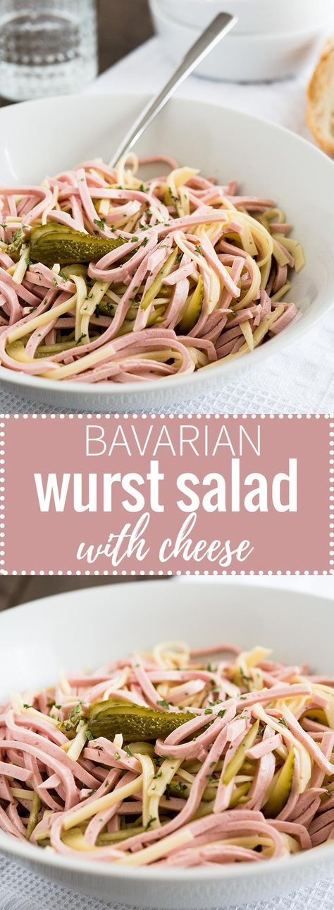 Bavarian Wurst Salad with Cheese is a perfect summer dish! Made with sliced ring bologna, Emmental cheese, and pickles this popular beer garden dish is sure to be a crowd-pleaser!