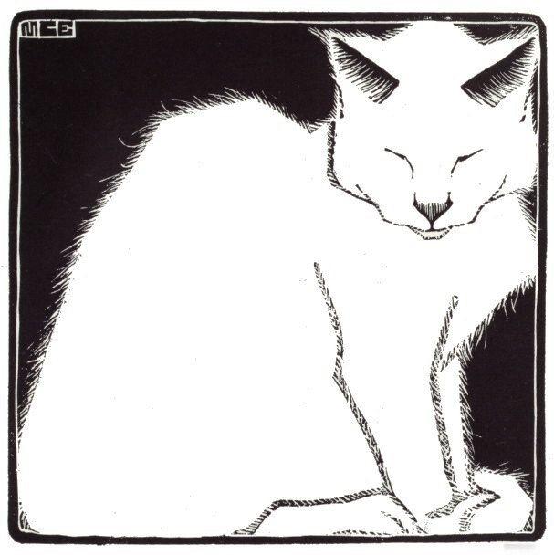 White Cat I ~ artist M. C. Escher, c.1919  #art #woodcut #mytumblr