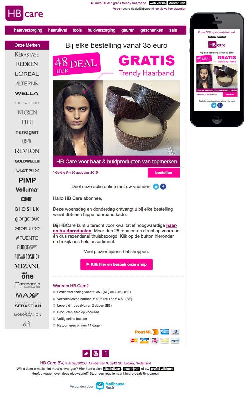 Email Newsletter Template. Tijdelijk een haarband bij uw haar- & huidproducten, vanaf 35.-. Verzonden op 19 augustus 2015.