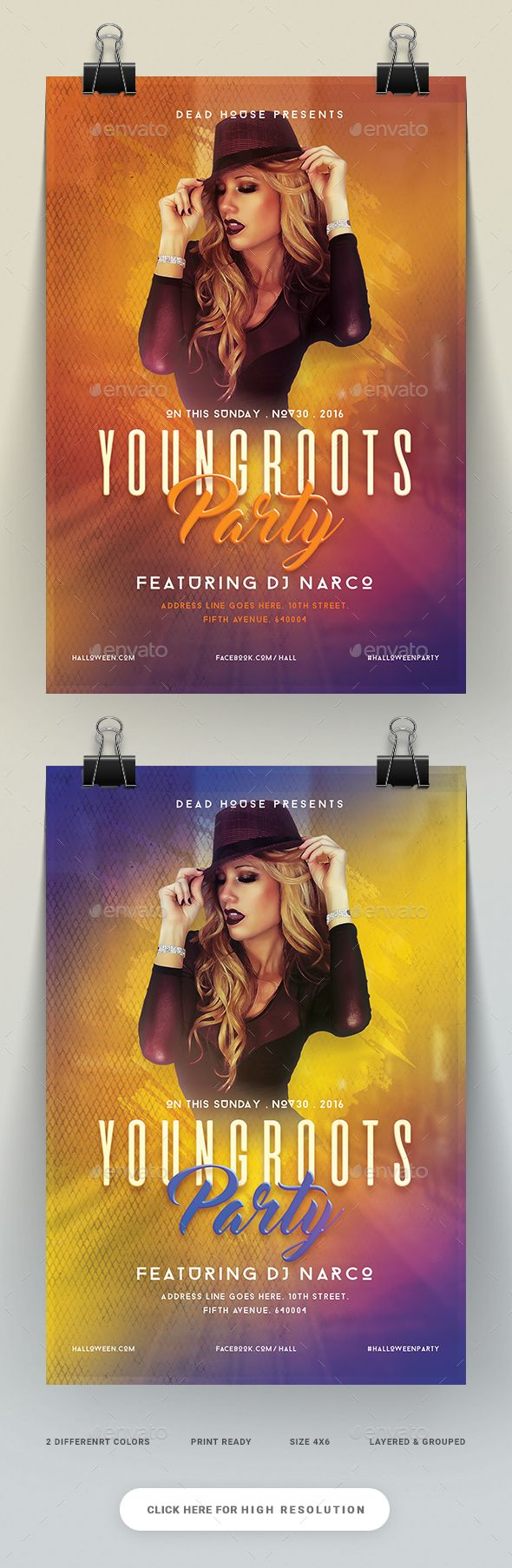 Young Roots Party Flyer  — PSD Template #electro #special guest dj • Download ➝ https://graphicriver.net/item/young-roots-party-flyer/18149380?ref=pxcr