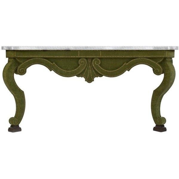Augustus Console Table In Green Velvet And Limestone Top ($10,548) ❤ liked on Polyvore featuring home, furniture, tables, accent tables, console tables, green, velvet table, green console table, outdoor console table and travertine outdoor table
