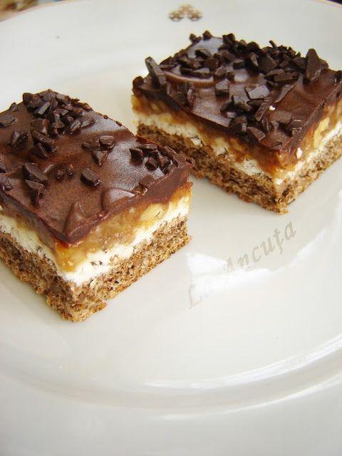 Prajitura cu ciocolata alba si nuci caramelizate - romanian cakes