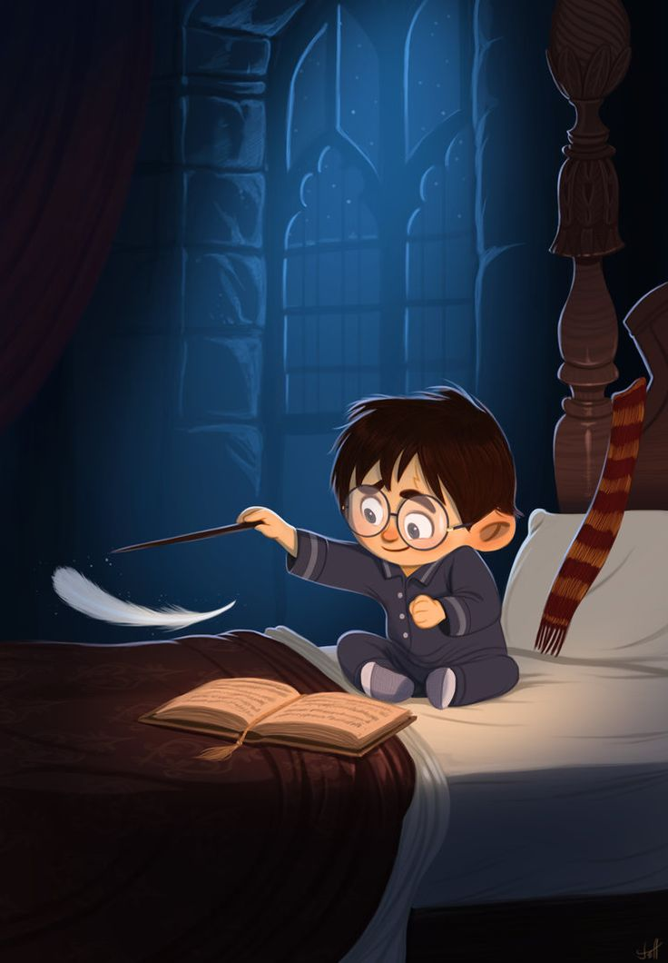 A young Harry working on his charms homework. This is a-freaking-dorable!Artwork by Jeff Delgado.