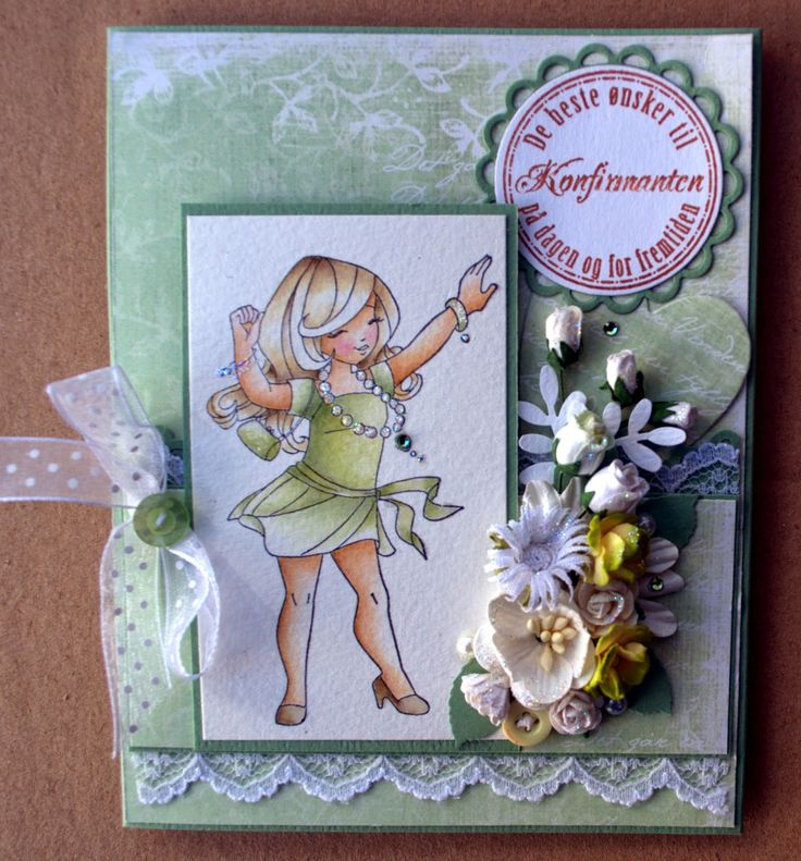 Annes lille hobbykrok: WOJ,  Girl card, konfirmant, Distress Ink
