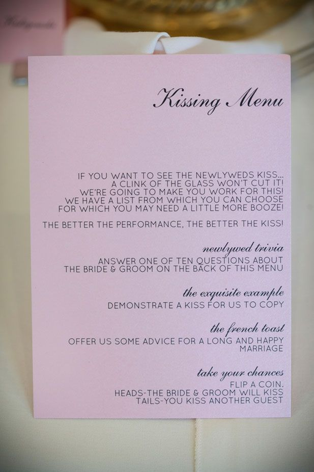 Kissing Menu! I love the fip a coin idea! | Two Sticks Studios