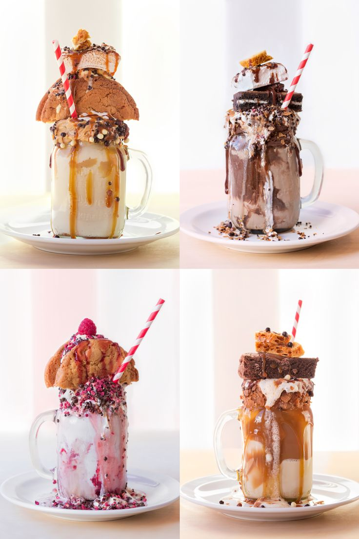 Crazy shakes - The Lorelai: iced coffee with pop tart - The Rory: mocha with donut and fruit loops - Breakfast at Luke's: mixed berry with pancakes and waffles - Vicious Trollop: cherry with red velvet cake - Movie Night: vanilla with sweets - Copper Boom: salted caramel with toffee, caramel popcorn and pretzels - Sookie's Shortcake: strawberry with pound cake - Fro-Yo Social: frozen yoghurt with fruit and waffle cone - Dean's Rocky Road: chocolate with marshmallows and cherries