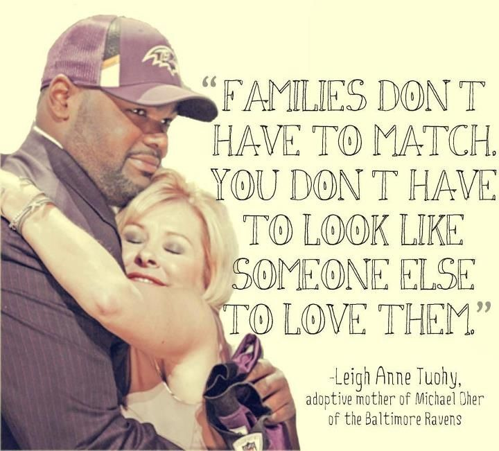 ~The real mother and adopted son from the movie The Blind Side. Love that movie! Good quote! So true :) #adoption Adoption or a family that you have created through friends