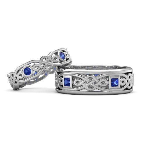 Обручальные кольца с сапфирами Кельтские