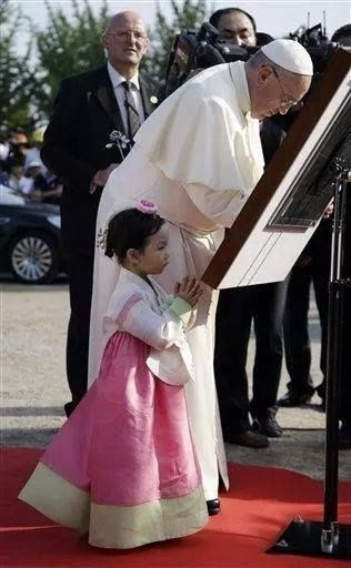 Love this picture. Pope Francis is So. Korea.