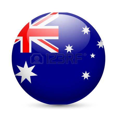 Bandera de Australia en como  icono redondo brillante. Botón con la bandera de Australia.