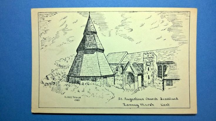 Line Drawing Postcard of St Augustine's Church Brookland Romney Marsh in Kent