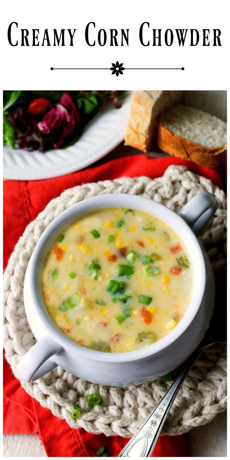 Delicious doesn't have to be complicated. Creamy Corn Chowder is absolute proof of that. Made as is, it's meatless, add cooked diced chicken if desired. via @https://www.pinterest.com/BunnysWarmOven/bunnys-warm-oven/