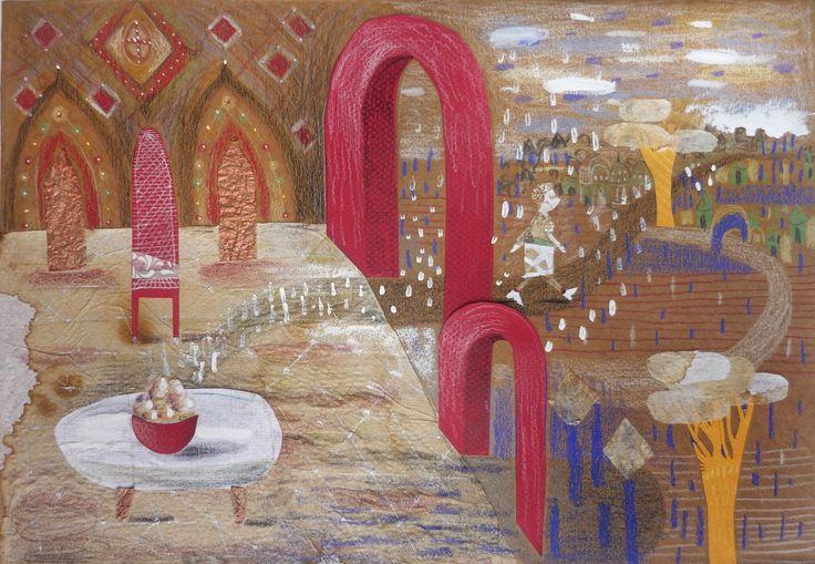 La vendedora de buñuelos.  Inédito. Collage sobre papel. ©MirellaMusri www.facebook.com/mirellamusriillustration