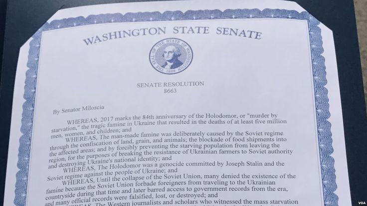 Штат Вашингтон назвав Голодомор геноцидом українців