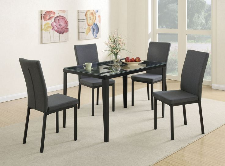 5 PC Poundex Glass Faux Marble Dining Room Table Set With Blue Grey Chairs