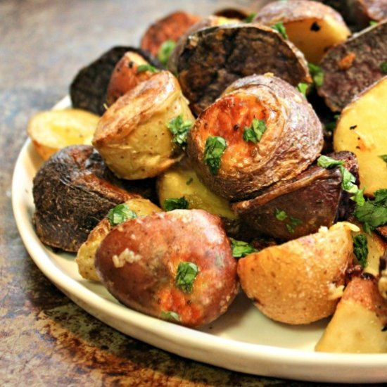 Perfectly Roasted Rainbow Potatoes, how to roast baby potatoes that come out perfectly every time!