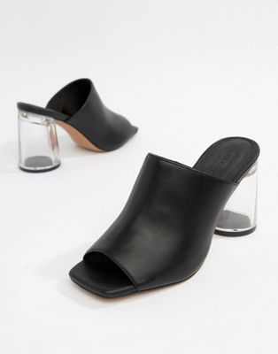 f5011446b4 DESIGN Hesitate clear Block Heeled Mules | Shoes | Heeled mules ...