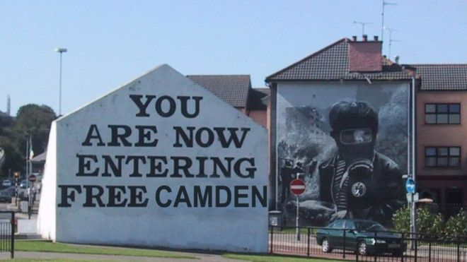 Visitors were welcomed to 'Free Camden' in a satirical response to Boris Johnson's comments - A doctored image of Free Derry Corner