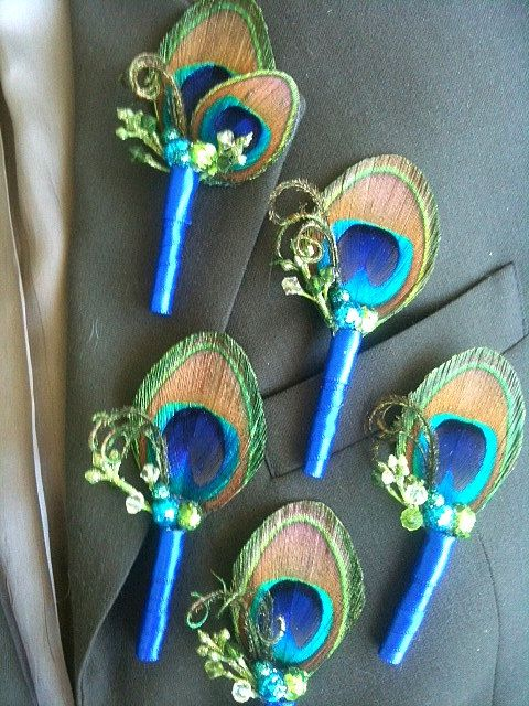 Peacock Boutonniere for your Peacock by WaterMeNot on Etsy, $11.00