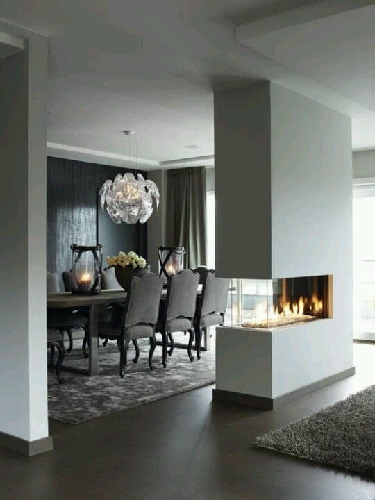 10 best ideas about fireplace between windows on - Fireplace between two rooms ...
