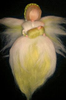 Handmade Fairy with baby, Waldorf Needle Felted