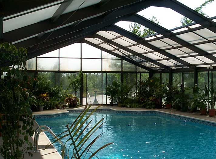 7 best greenhouse with pool inside images on pinterest for Indoor pool with retractable roof