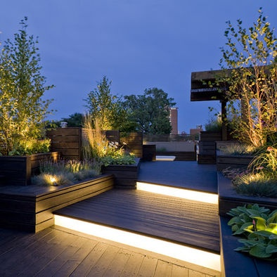 Contemporary rooftop deck - dSPACE studio light feature, green display