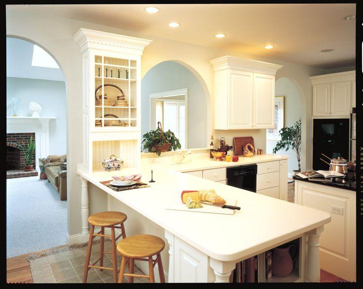 White Corian Kitchen Counter White Cabinets White Beadboard