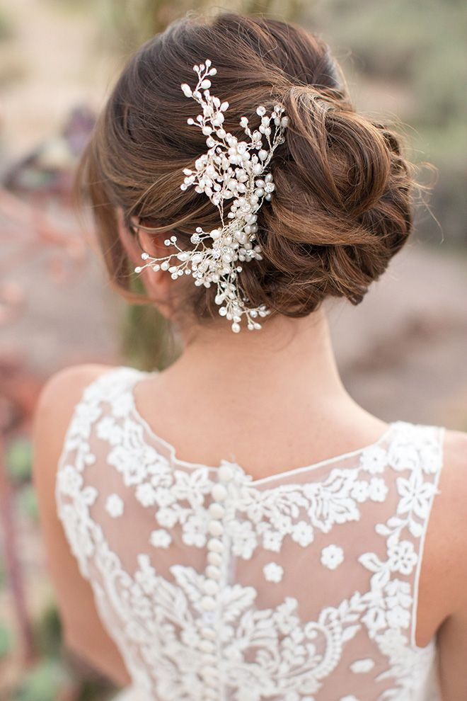 Pretty bun + lace back ~ Oasis in the Desert Wedding Inspiration ~ Allure Bridals, Amy and Jordan Photography, Encore Creative | bellethemagazine.com