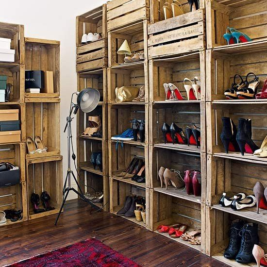 con cajones de frutas: Decor, Shoes, Ideas, Closets, Pallet, House, Shoe Storage, Diy, Crates