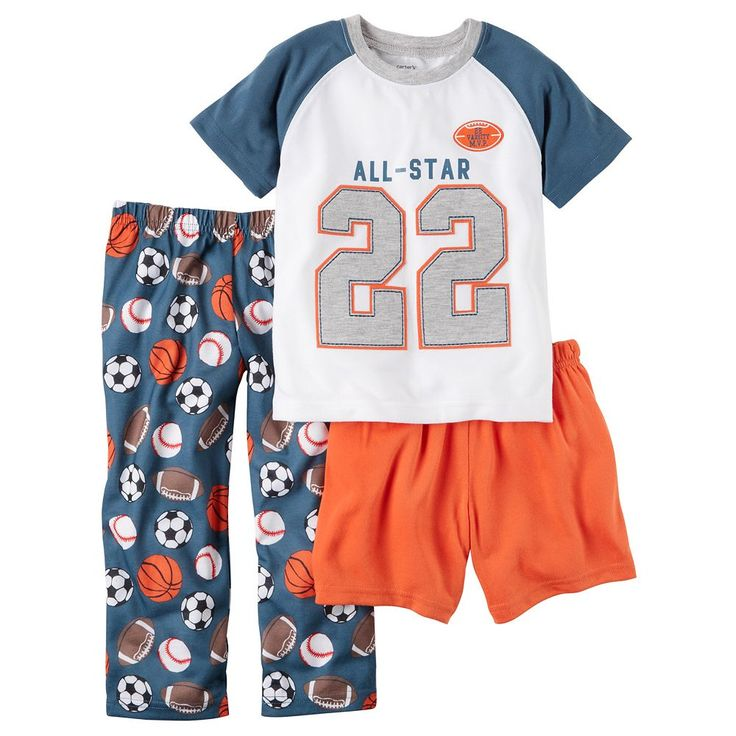 Boys 4-12 Carter's All-Star 3-Piece Pajama Set, Size: 10, Ovrfl Oth