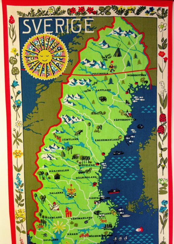 Vintage Wall Hanging  Map Of Sweden by MelbaMoon on Etsy