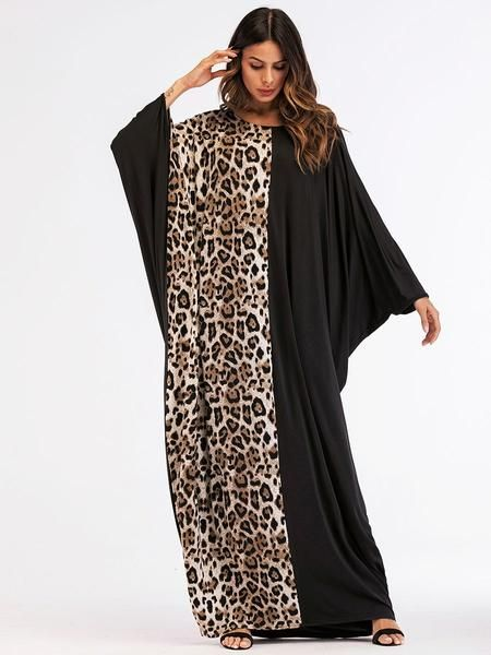 0bb8ce2961 Two-Toned Leopard And Black Abaya Kaftan in 2019 | Abaya | Black ...