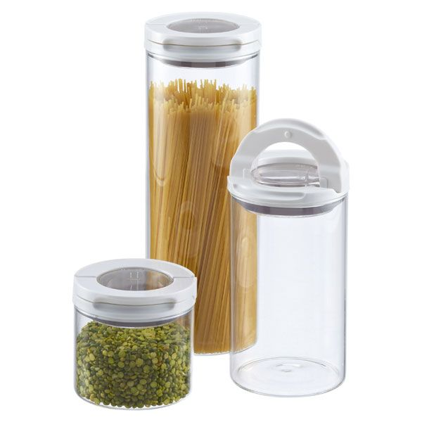 FlipLock Glass Canisters by OXO® Made from borosilicate glass with clear acrylic lid Airtight silicone seal