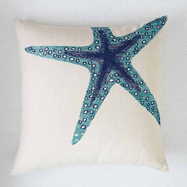 Wisteria - Accessories - Pillows & Cushions -  Blue Aquatic Life Pillow Cover - Starfish - $39.00