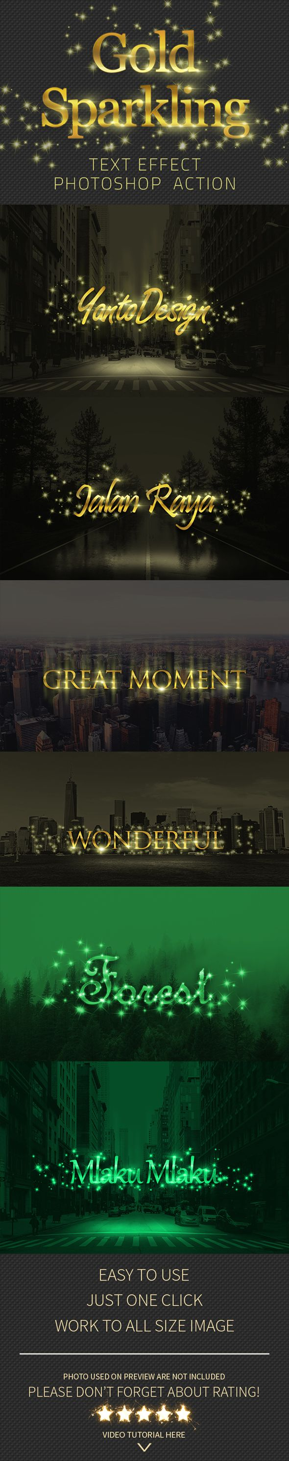 Gold Sparkling Text Effect Action - Text Effects Actions
