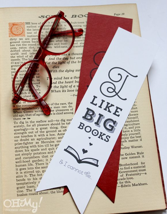 I Like Big Books & I Cannot Lie printable funny Valentine's bookmark