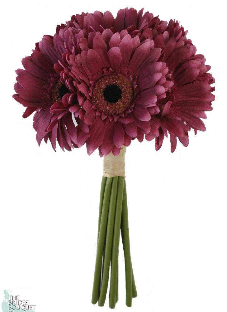 Mulberry Wine Daisy Bouquet - Bridal Wedding Bouquet - TheBridesBouquet.com