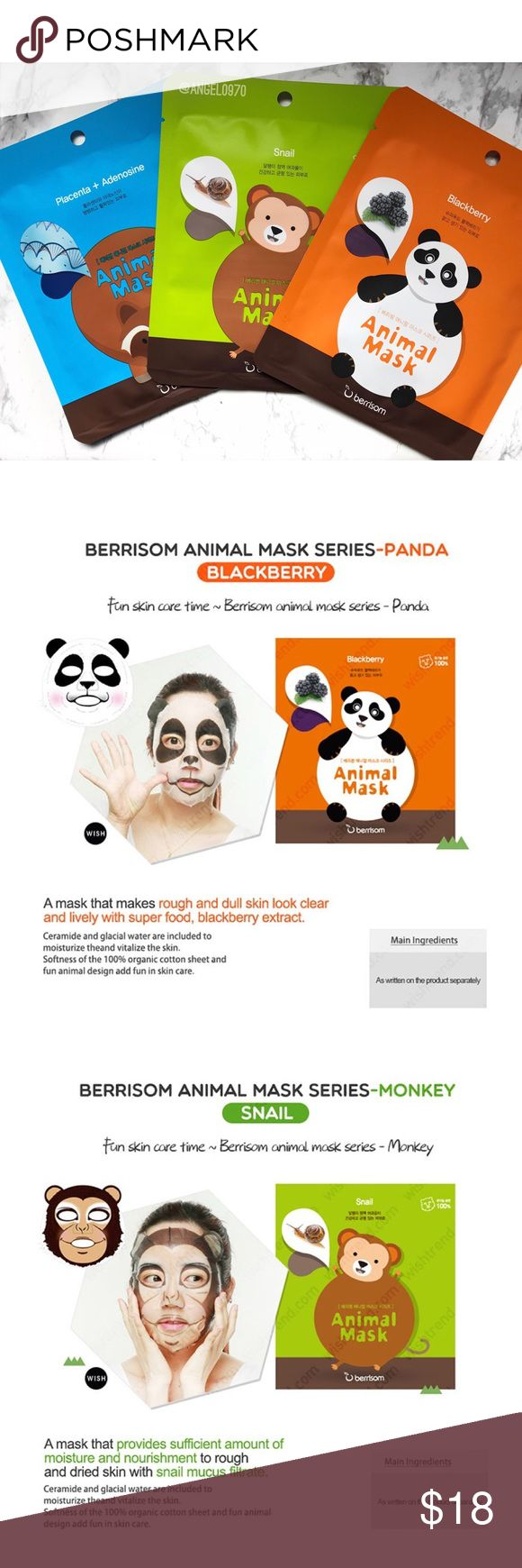 || Korean Animal Print Sheet Mask Bundle 3 brand new Korean Sheet masks that have adorable animal prints on them. Have fun getting skin care benefits while having fun with the animal characters mask!  Korean skin care products are very popular world wide!  Included: Raccoon mask, Monkey mask, and Panda mask  I posted what each mask is for above  No TradesPlease No Lowballing  I do not negotiate pricing in the comments. Please submit a reasonable offer by the offer button. Thank you…