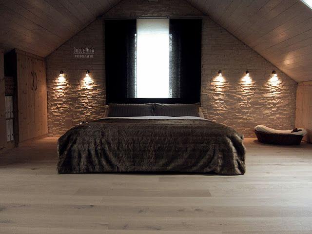 mit steinwand zimmer mit dachschr ge pinterest. Black Bedroom Furniture Sets. Home Design Ideas