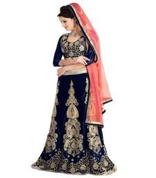 We present a range of Velvet lehenga sarees are decorated with beautiful embroidery and stone work which is presented in the most eloquent manner.  This saree comes along with matching designer blouse piece.   Moiaa is women's favourite one stop shop for Indian clothing. We specialize in bridal sarees, trendy SalwarKameez and other Indian bridal wear like LehengaCholis. Our collection boasts of creations of best Indian designers and also regular Indian women's clothing.