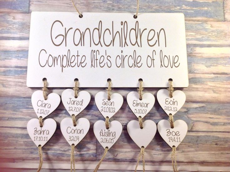 Personalised Wooden grandchildren sign - mothers day grandchildren Birthday Calendar Anniversary Reminder Plaque Shabby Chic Family Calend